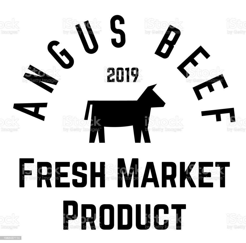 angus beef label vector art illustration