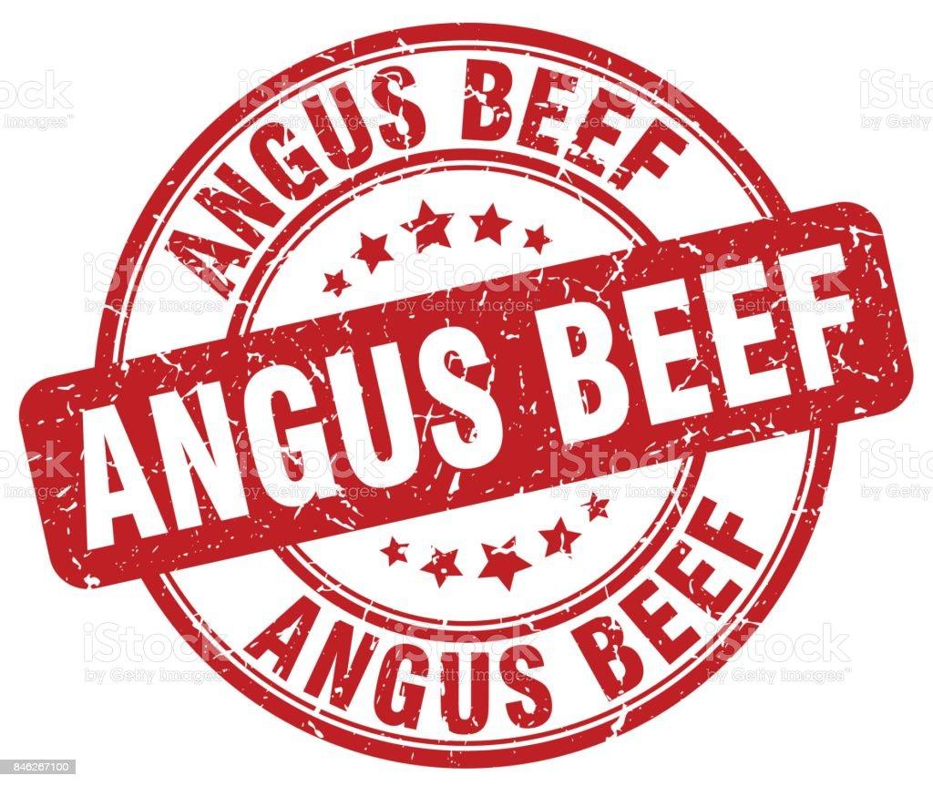 angus beef red grunge round vintage rubber stamp vector art illustration