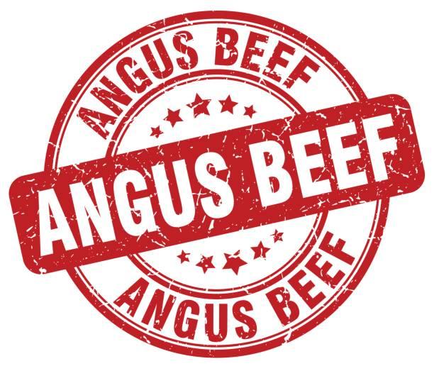 ilustrações de stock, clip art, desenhos animados e ícones de angus beef red grunge round vintage rubber stamp - beef angus