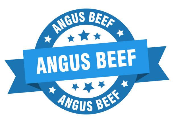 ilustrações de stock, clip art, desenhos animados e ícones de angus beef ribbon. angus beef round blue sign. angus beef - beef angus
