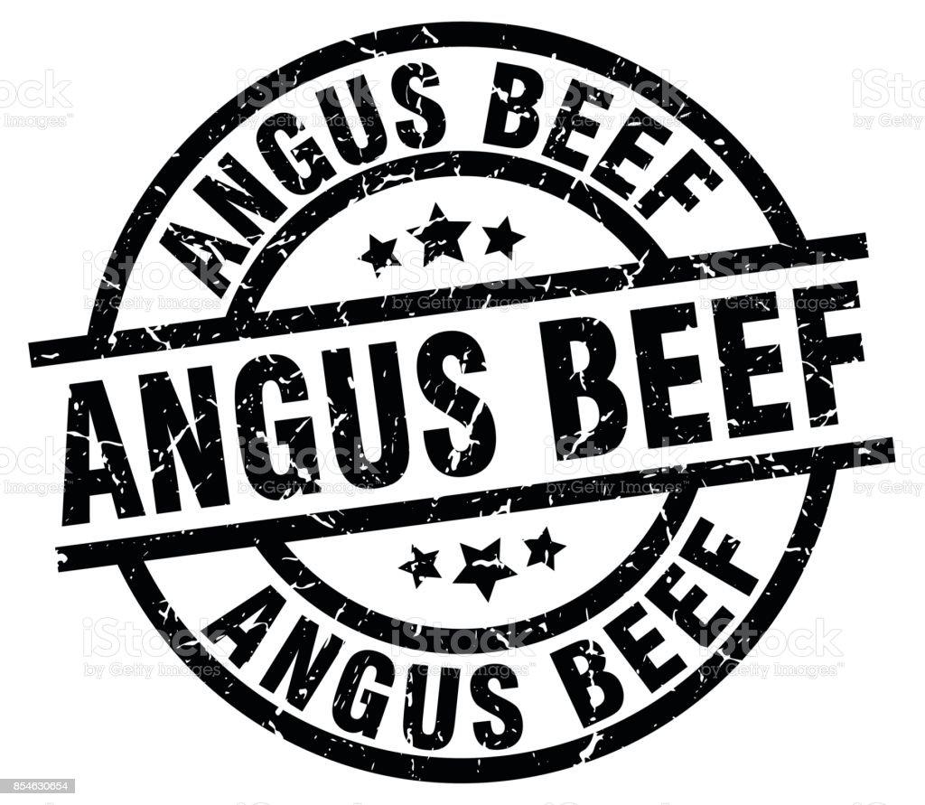 angus beef round grunge black stamp vector art illustration