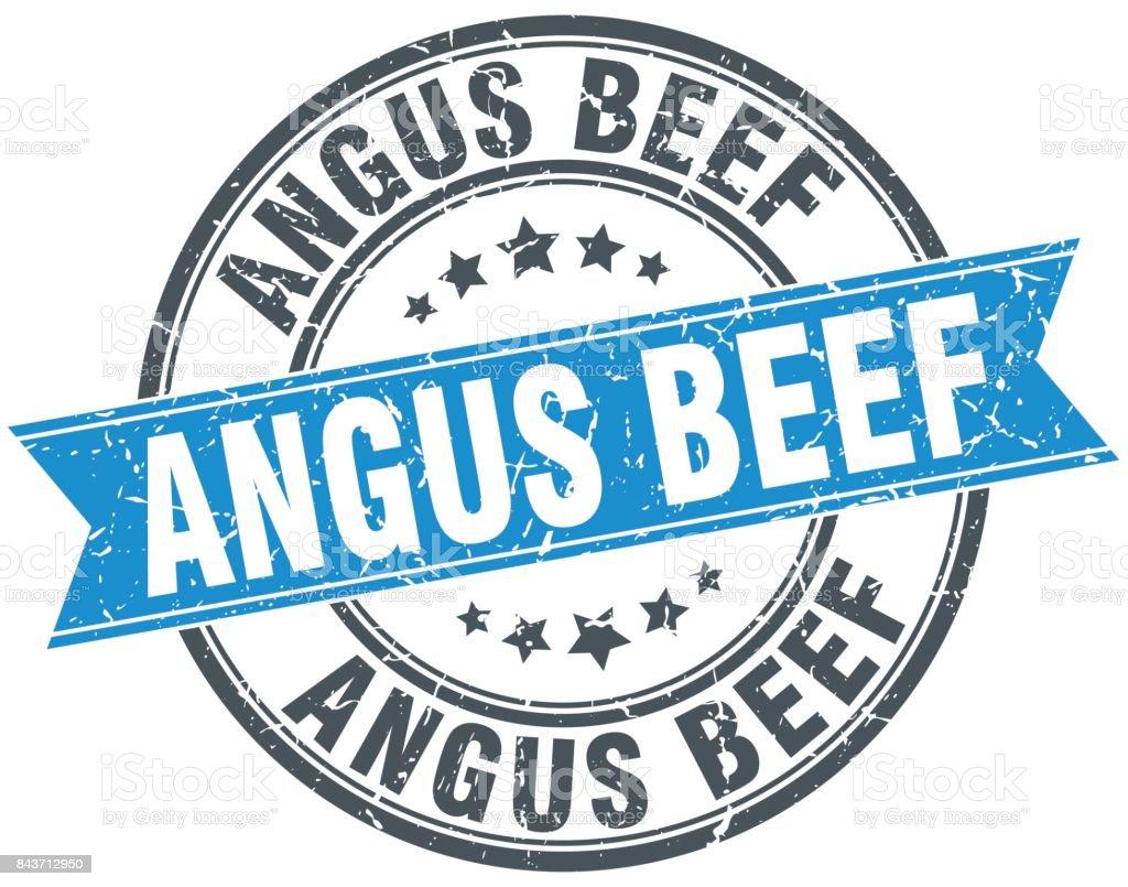 angus beef round grunge ribbon stamp vector art illustration