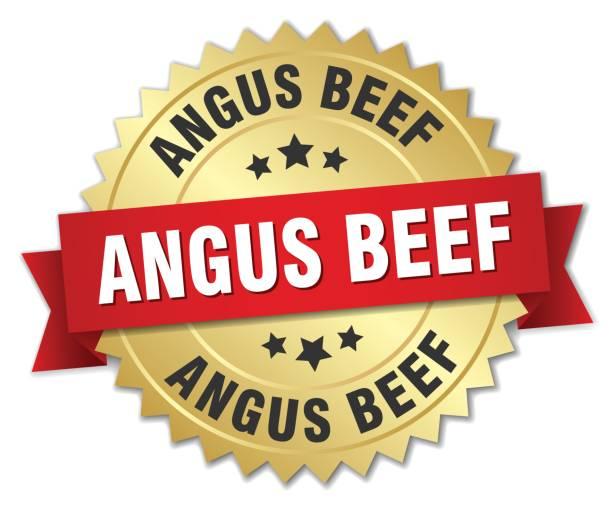 ilustrações de stock, clip art, desenhos animados e ícones de angus beef round isolated gold badge - beef angus