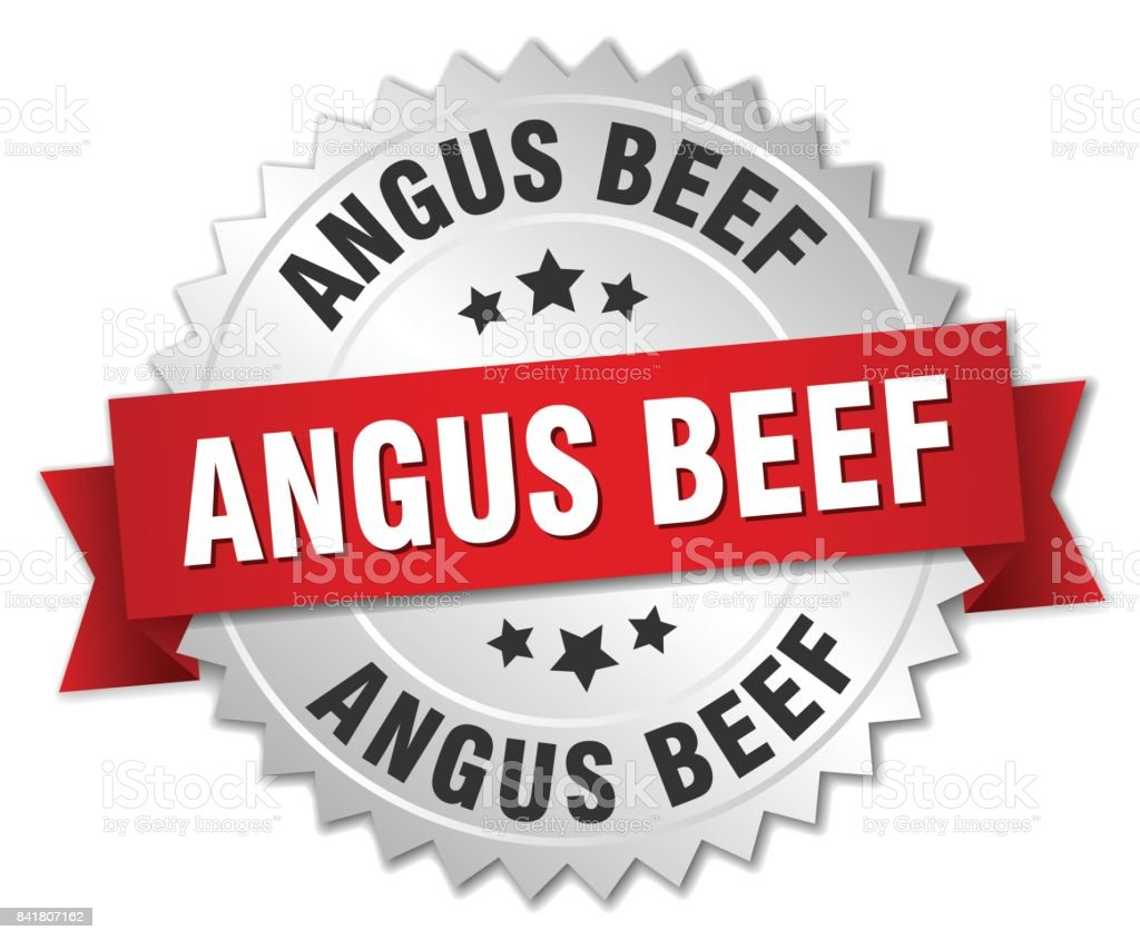 angus beef round isolated silver badge vector art illustration