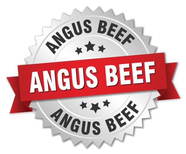 ilustrações de stock, clip art, desenhos animados e ícones de angus beef round isolated silver badge - beef angus