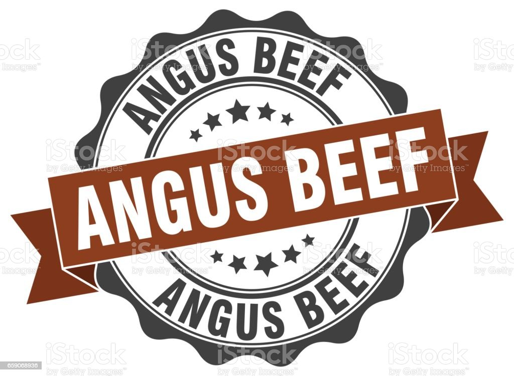 angus beef stamp. sign. seal vector art illustration