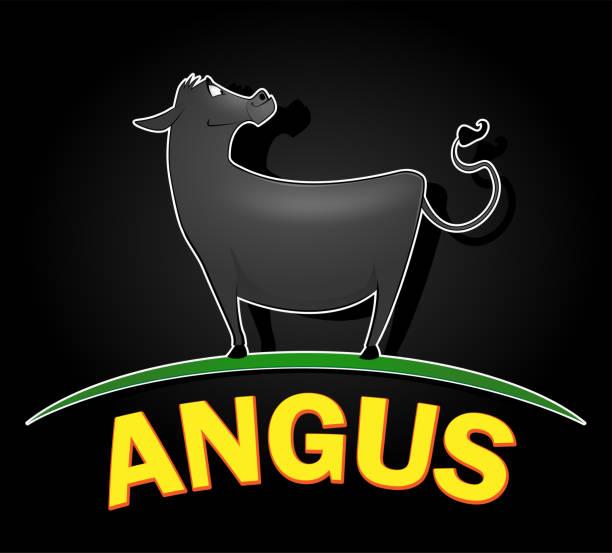 ilustrações de stock, clip art, desenhos animados e ícones de angus cow logo design - beef angus