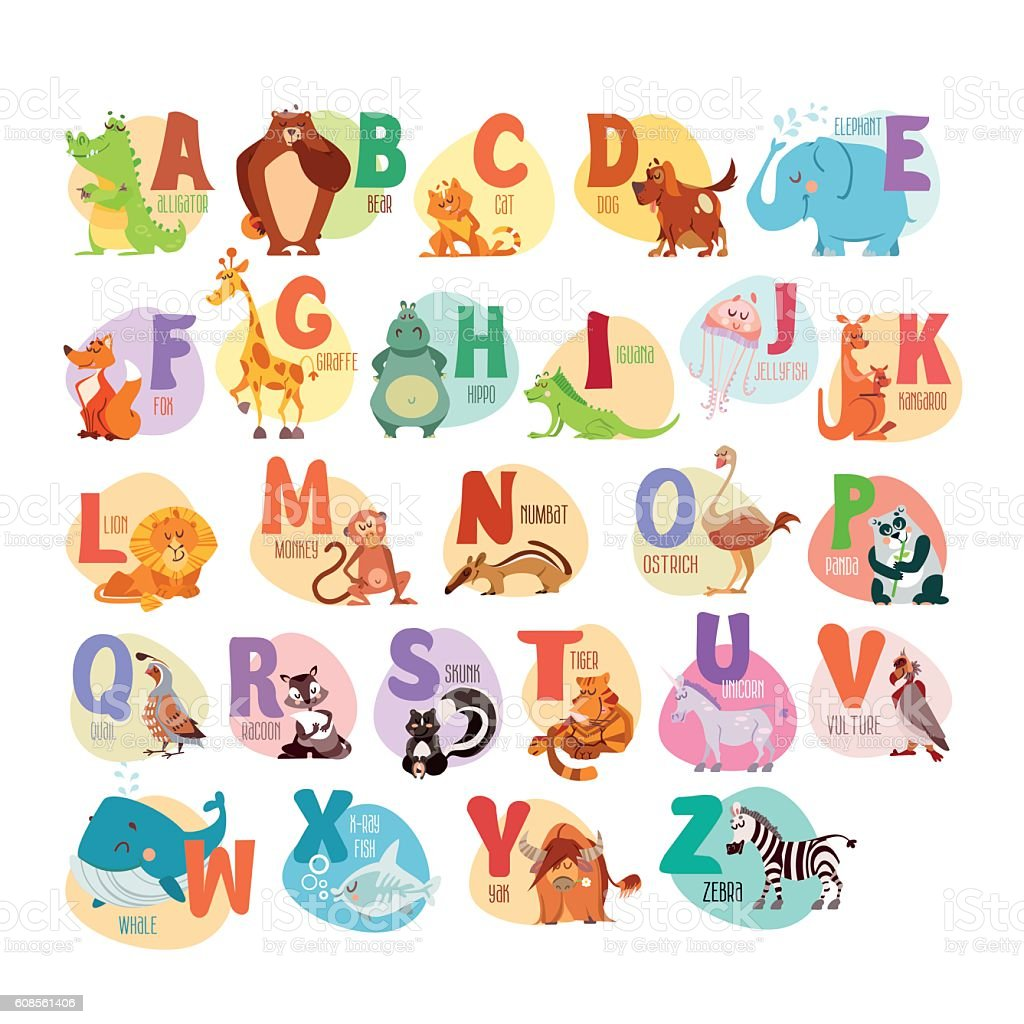 Animal abc for preschool education – Vektorgrafik