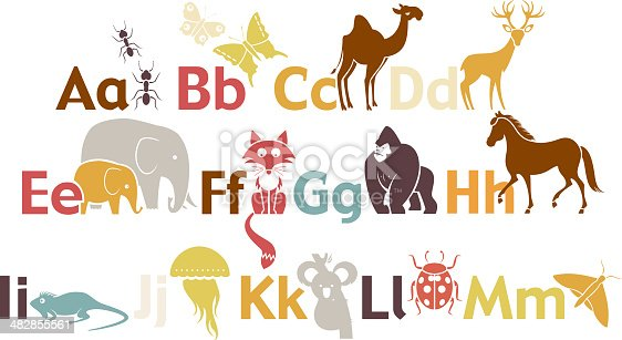 A set of animals. See below for the rest of the alphabet.