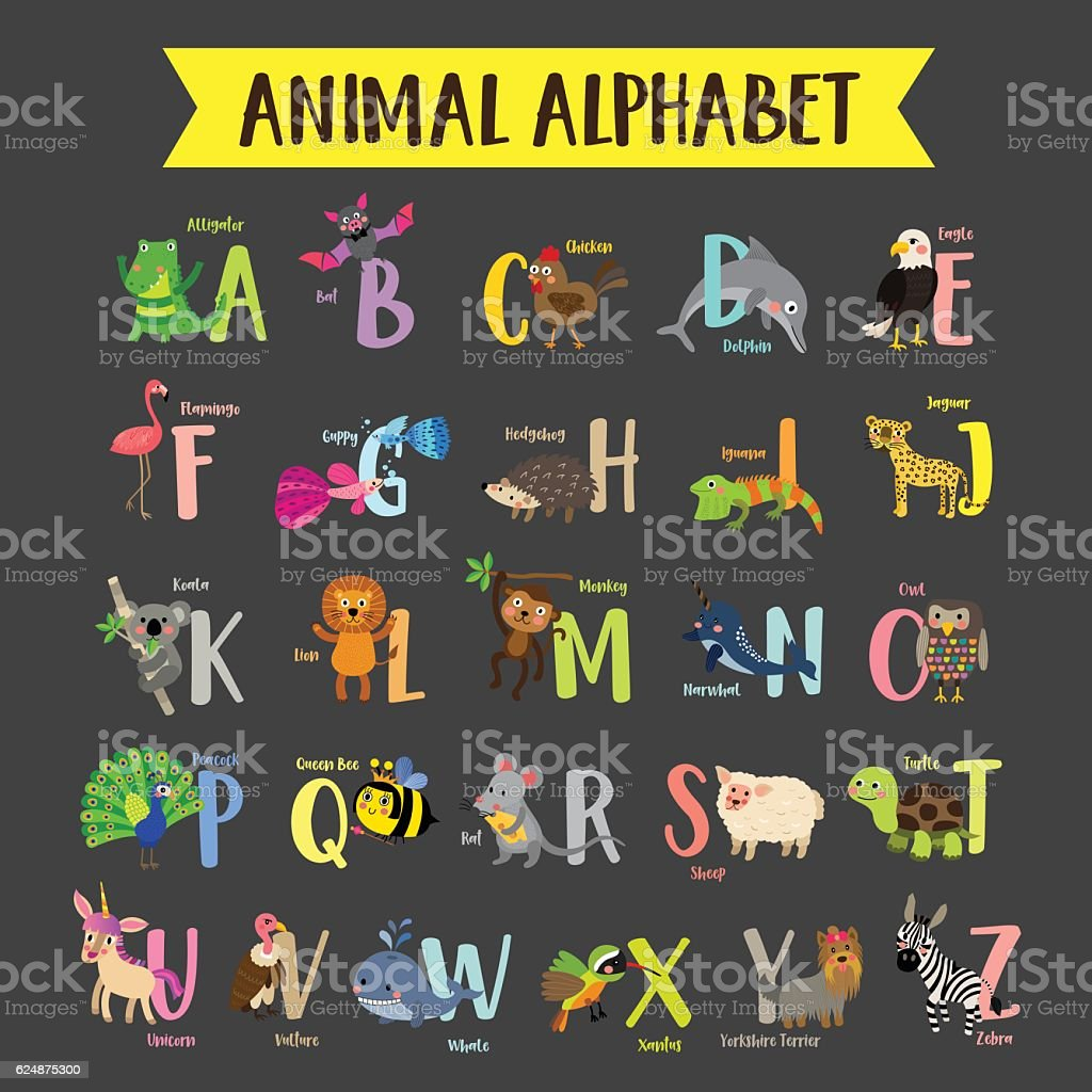 Animal alphabet A-Z dark background vector illustration. – Vektorgrafik