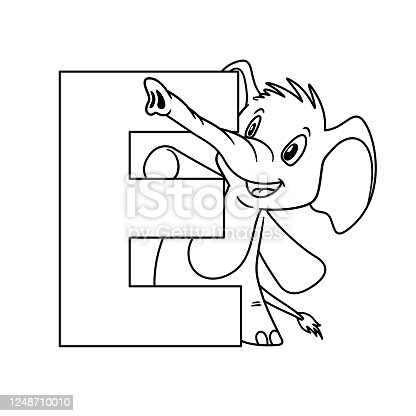 istock Animal alphabet. Capital letter E, Elephant. illustration. For pre school education, kindergarten and foreign language learning for kids and children. Coloring page and books, zoo topic. 1248710010