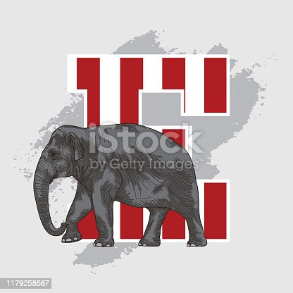 istock Animal Alphabet Drop Cap Letter - E 1179258567