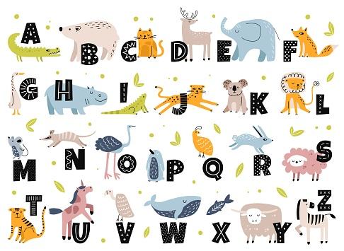 Animal alphabet in scandinavian style. Cute elephant, fox, bear, unicorn. Hand drawn cartoon animals with letters for kids education vector set
