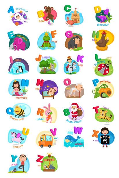animal alphabet letter a-z vector art illustration