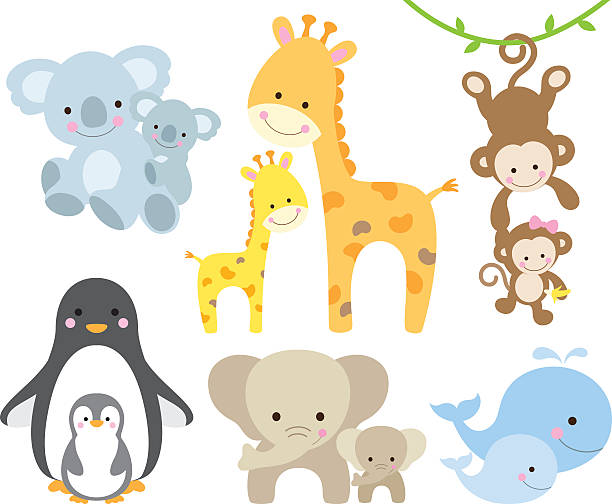 animal und baby-set - tierkinder stock-grafiken, -clipart, -cartoons und -symbole