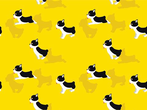 Animal Animation Dog Boston Terrier Running Cartoon Vector Illustration Seamless Background-01