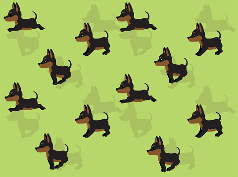 Animal Animation Dog Minature Pinscher Cartoon Vector Illustration Seamless Background-01