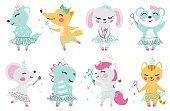 Animal baby girl cute print. Unicorn, bunny, fox, wolf, panda, mouse, cat, kitten, dinosaur with magic wand, bow, ballet tutu, pointe.