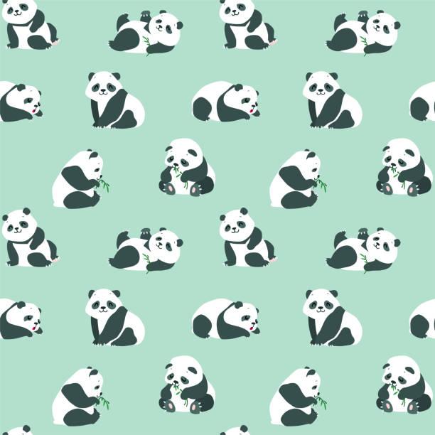 illustrations, cliparts, dessins animés et icônes de fond animal - panda