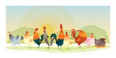 Animal background with chickens, vector, illustration