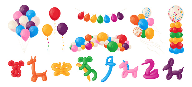 Animal balloons. Cartoon kids party helium spheres. Birthday decoration of glossy cute toys. Festive bright collection. flying inflated balls and garlands. Vector holiday elements set