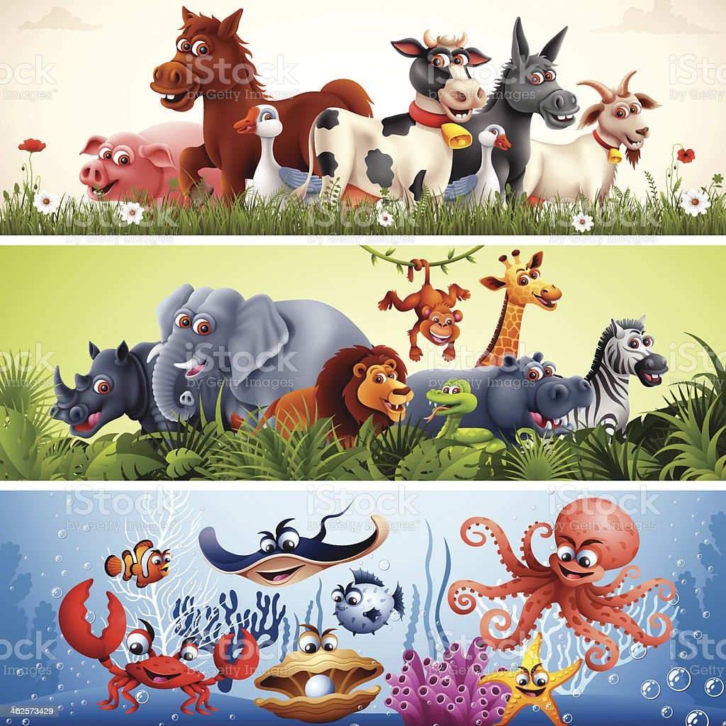 Animal Banners vector art illustration