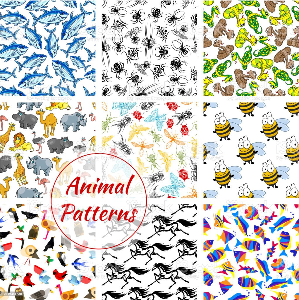 Animal, bird, fish and insect seamless patterns. Lion and horse, owl,...