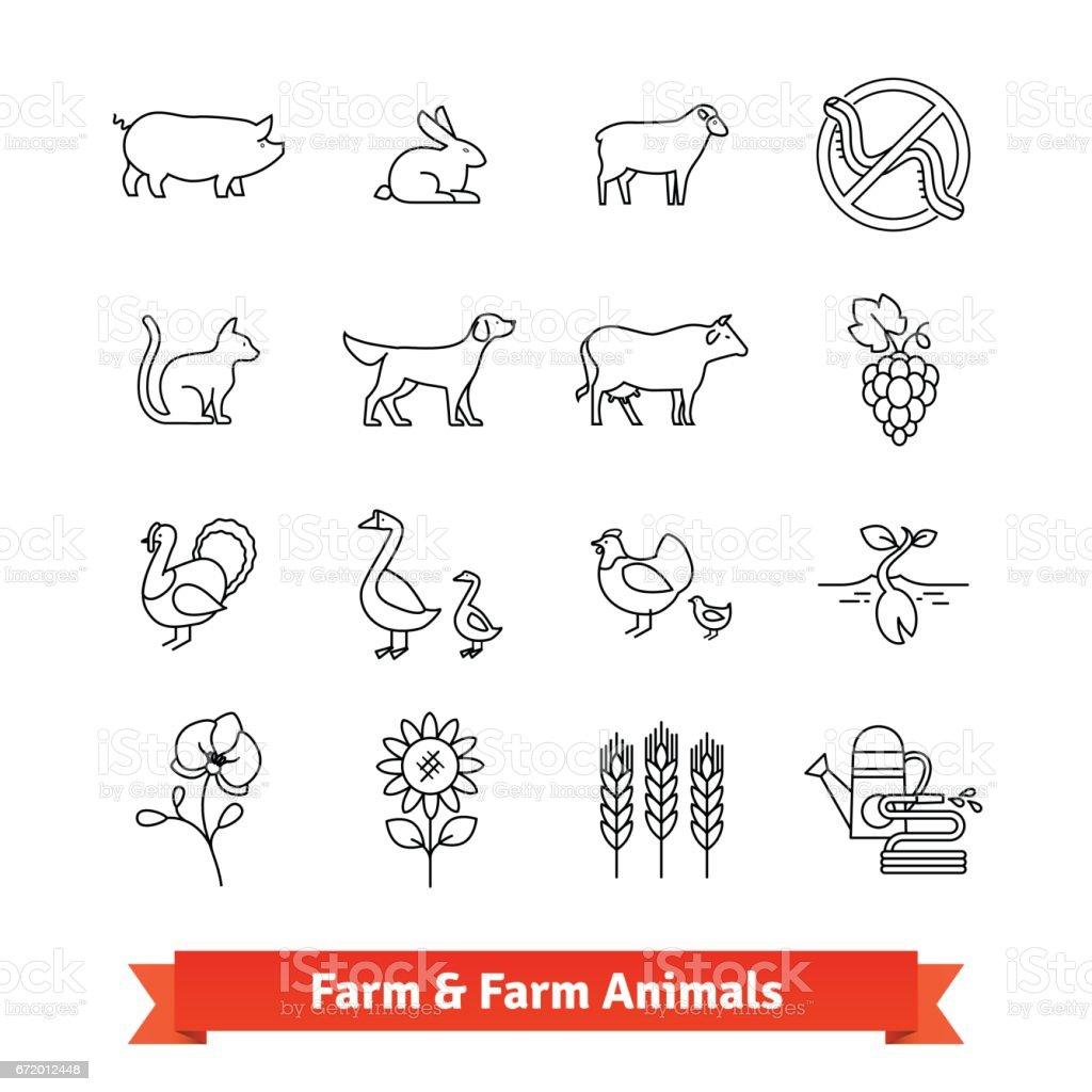 Élevage et agriculture des icônes de fine art - Illustration vectorielle
