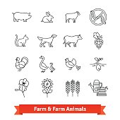 Animal breeding and farming thin line art icons
