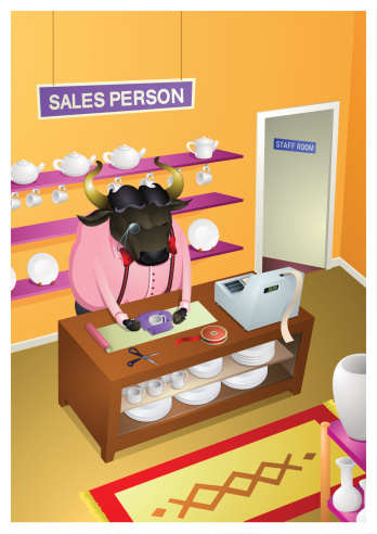 Az Animal Bull Sales Person Stock Illustration - Download Image Now