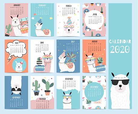 Animal calendar 2020 with llama for children.Can be used for printable graphic