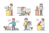 Animal Care Concept. Male And Female Characters Take Care And Look After Domestic Animals. People Walk, Groom, Visit Exhibitions, Treat Dogs And Cats. Cartoon Linear Outline Flat Vector Illustration.