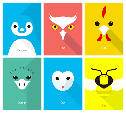 animal cartoon face, flat face icon, vector illustration