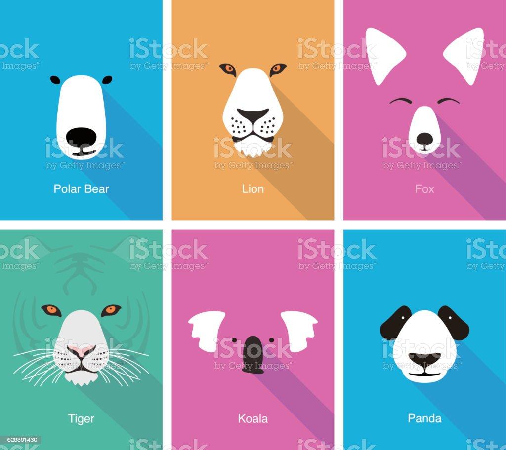 animal cartoon face, flat face icon vector
