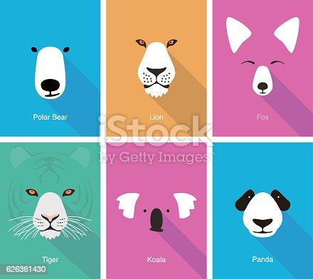 istock animal cartoon face, flat face icon vector 626361430