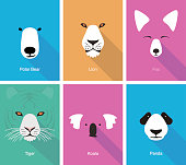 istock animal cartoon face, flat face icon vector 626361430