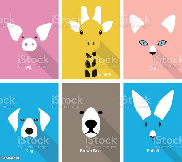 Animal cartoon face flat face icon vector vector id626361440?b=1&k=6&m=626361440&s=612x612&h=muuvt89fgzdaprblzwhmh1jgsu0m6kk8oqlitouhg2s=