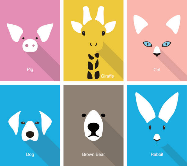 animal cartoon face, flat face icon vector - ilustración de arte vectorial