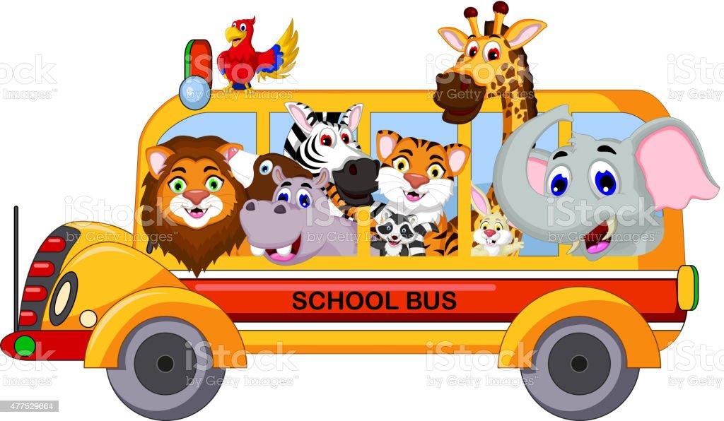 vector illustration of animal cartoon on a school bus