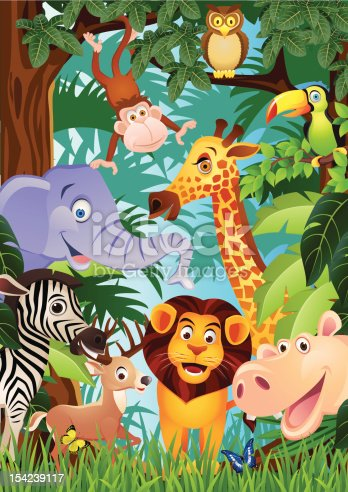 Vector illustration of animal cartoon in the jungle