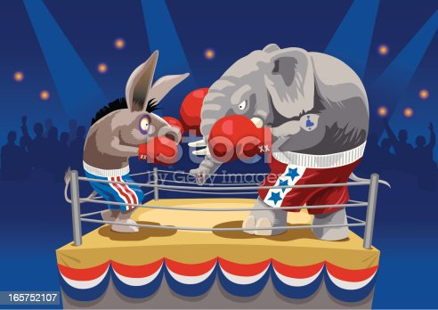 istock Animal cartoons boxing on the ring 165752107