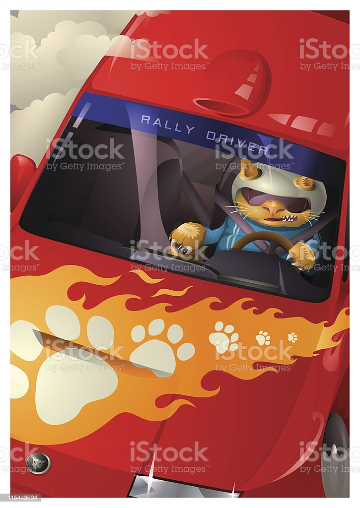 A-Z Animal, Cat Rally Driver royalty-free stock vector art