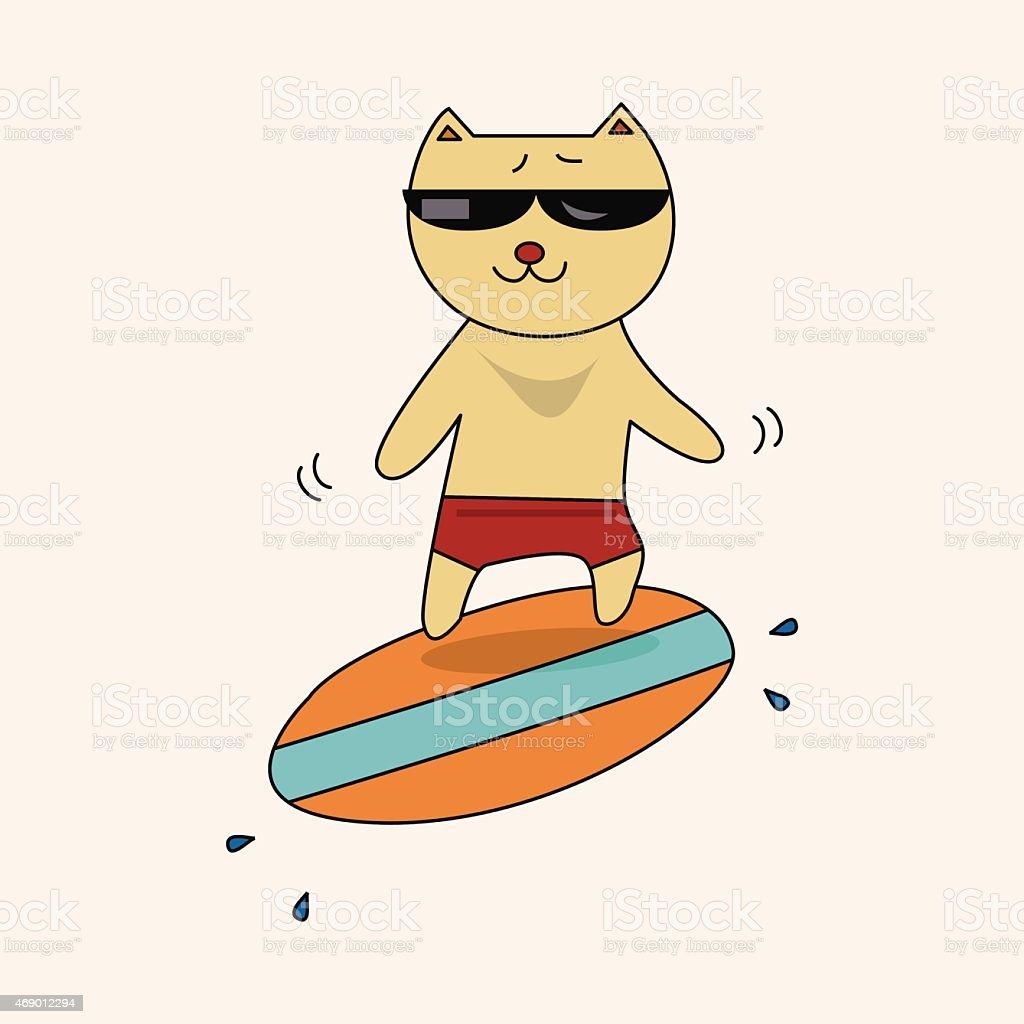 動物テーマ夏のカットイラスト猫の素材 のイラスト素材 469012294 | istock