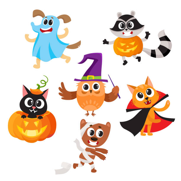 Animal characters dressed in Halloween costumes Set of cute funny animal characters dressed in Halloween costumes, cartoon vector illustration isolated on white background. Set of animal characters dressed as ghost, witch, mummy celebrate Halloween animal costume stock illustrations