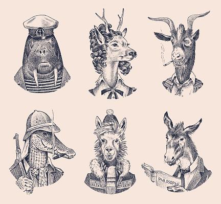 Animal characters set. Deer lady Walrus Crocodile Smoking Goat Dog Donkey Alpaca Llama skier. Hand drawn portrait. Engraved monochrome sketch for card, label or tattoo. Hipster Anthropomorphism