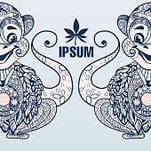 Animal collection. Hand drawn doodle vector illustration. Monkey and cannabis leaf