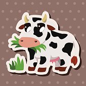 animal cow cartoon theme elements