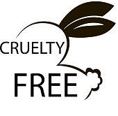 Animal cruelty free icon design. Animal cruelty free symbol design. Product not tested animals sign with bunny rabbit. Vector illustration.