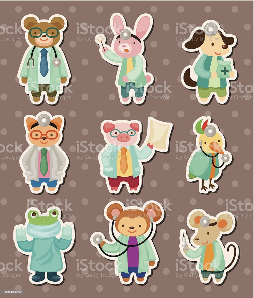 animal doctor stickers royalty-free stock vector art