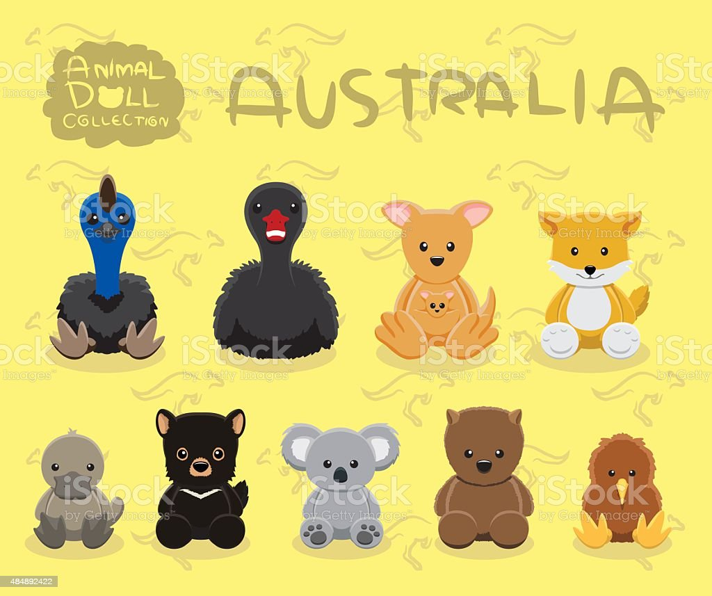 Animal Dolls Australia Set Cartoon Vector Illustration vector art illustration